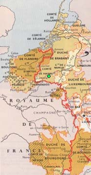 Landrecies is in green, and the border of the Holy Roman Empire is in red...